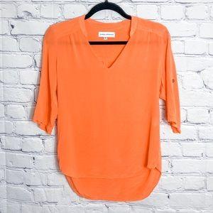 Amanda Uprichard Orange Silk Short Sleeve Top